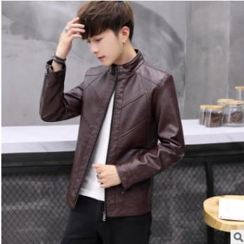 2018时尚新款韩版男士皮衣休闲青年皮潮流帅气皮夹克加厚保暖外套