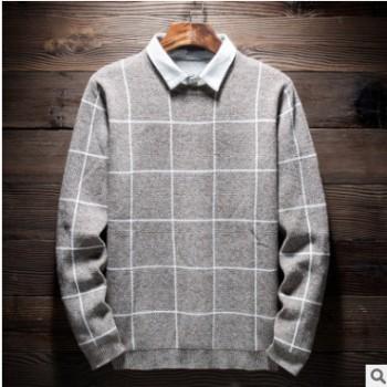 2018秋冬季新款假两件男式毛衣潮流修身男式衬衫领格子打底衫上衣