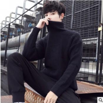2019毛衣男士冬季新款韩版潮流半高领线衣男秋冬装加绒打底针织衫