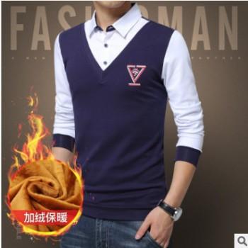 2019年加绒假两件毛衣衬衫男V领带领男士打底针织衫商务一件代发