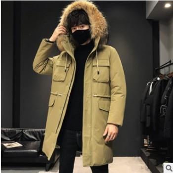 羽绒服男新款男士连帽ins 青年冬季中长款白鸭绒加厚保暖外套潮流