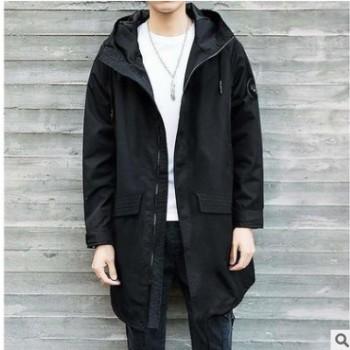 M-8XL秋季男士休闲连帽中长款夹克风衣加肥加大码肥佬胖子外套