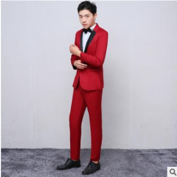韩版红色小西服套装2019新款男士休闲日常西服套装男工厂直销批发