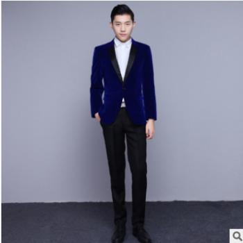 men suits 男士高端商务定制藏蓝色西服套装2019新款宴会礼服西装