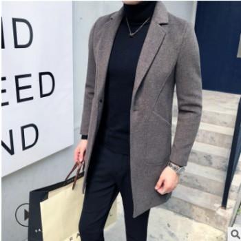 毛呢大衣新款韩版中款风衣青年时尚潮流帅气百搭毛呢大衣一件代发