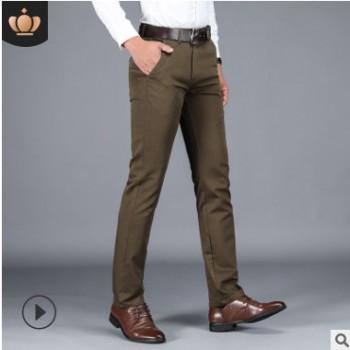 西裤%100棉休闲裤大码韩版男式西裤时尚流行商务直筒长裤一件代发
