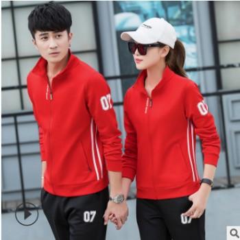 情侣运动套装休闲套装 男式大码男装韩版女运动服大码一件代发
