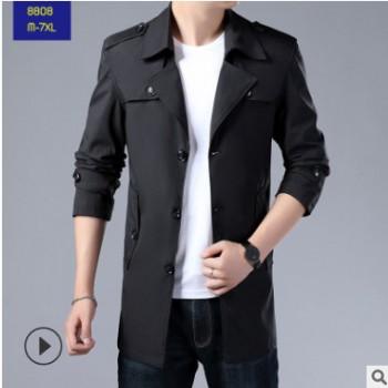 跨境亚马逊秋冬季欧美男士风衣中长款夹克大衣外套M-7xl大码男装