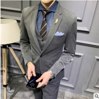 男式休闲西装 公司酒店商务职业正装三件套 影楼婚纱店西服套装