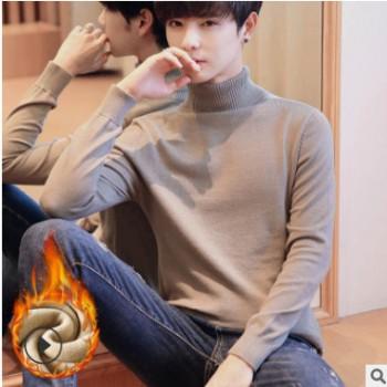 厂家直销外贸冬季新款修身休闲潮男士加绒韩版舒适保暖高领毛衣男