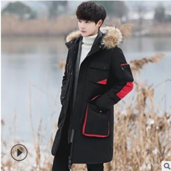2019冬新款休闲绒羽绒服男中长款冬季韩版青少年加厚连帽男士外套