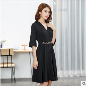 V领连衣裙中袖2019新款高端精品裙子韩版时尚连体裙厂家一件代发