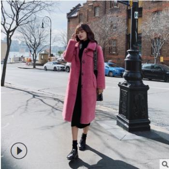 羊剪绒大衣女2019新款皮毛一体中长款羊羔毛外套绒上衣一件代发