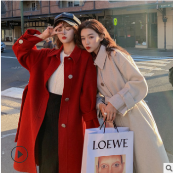 毛呢大衣女中长款2019新款韩版复古气质呢外套爆款厂家一件代发
