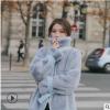 2019韩版秋冬毛呢大衣新款皮毛一体外套秋季短毛皮外套腰带收腰款
