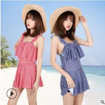 批发新款热销女士泳衣韩版休闲连体式泳装成人百搭沙滩划水游泳衣