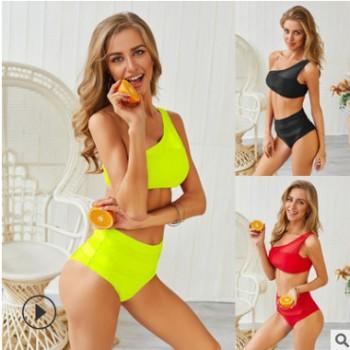 2020欧美新款分体泳衣单肩网纱拼接性感高腰两件套比基尼欧美