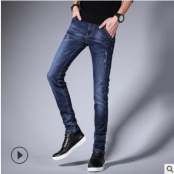 跨境新款男士牛仔裤韩版修身长裤子青少年潮流水洗哈伦休闲小脚