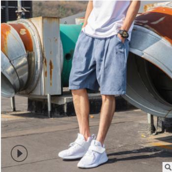 2019夏季韩版复古纯色百搭宽松休闲短裤男士薄款五分裤学生