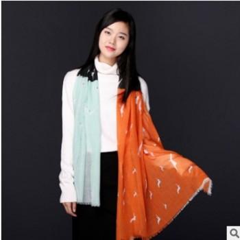 厂家直销2019秋冬季新款羊毛围巾披肩保暖时尚甜美百搭纯羊毛围巾