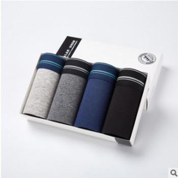 2019新款男士内裤95%棉四季多色性感柔软舒适透气平角裤一件代发