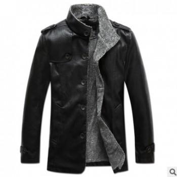 石狮外贸男式皮衣大码男装秋冬时尚男式中长款皮外套加绒男士外套
