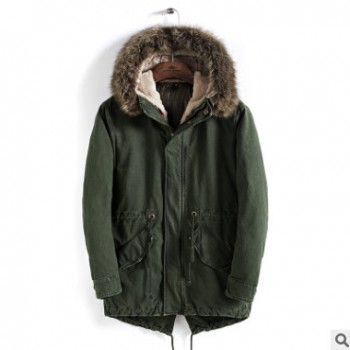 2018冬季新款休闲时尚中长款棉衣男式修身加厚防寒保暖棉服外套男