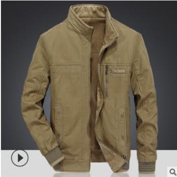 春秋新款男式夹克爸爸装中年纯棉男士双面穿茄克立领休闲外套男装
