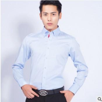 男装 男士休闲纯色长袖衬衫水晶扣钻扣男式衬衣BFHYH