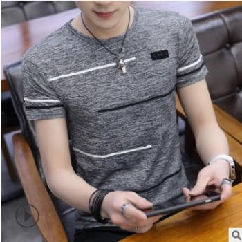 夏季男士短袖t恤冰感丝滑圆领半袖上衣服潮韩版男装印花打底衫T桖