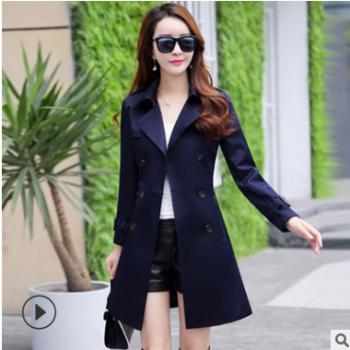 2019秋新款韩版大码女装双排扣修身外套中长显廋百搭风衣