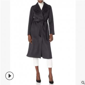 2019秋冬韩版V领羊绒外套女式修身系带呢大衣长款过膝毛呢大衣