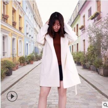 毛呢大衣女 米白色修身毛呢大衣连帽女士中长款羊毛双面呢子外套