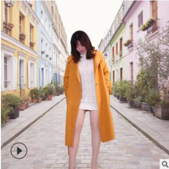 2019新款毛呢大衣女 欧美通勤翻领纯色中长款羊毛大衣 时尚潮人