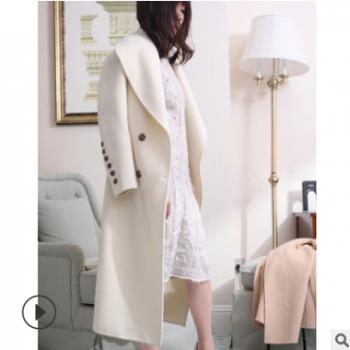 双面呢纯色翻领长袖高档外套2019冬季新款女装女式羊毛呢大衣定制