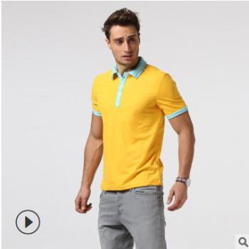 外贸实拍2019夏季新品外贸男士个性撞色翻领短袖T恤