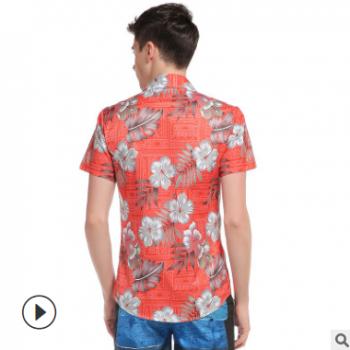 外模实拍外贸男士碎花图案3D印花棕榈树沙滩休闲短袖衬衫