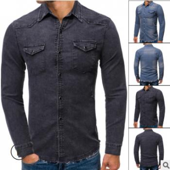 外贸新品大码衬衫 亚马逊潮流时尚毛边牛仔衣衬衫外套