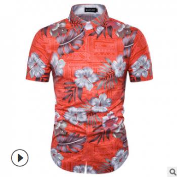 外贸男士秋冬碎花图案3D印花棕榈树沙滩休闲短袖衬衫