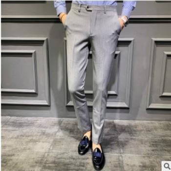 2019新款西裤男士修身型黑色西装裤商务休闲宽松直筒西服小脚裤子