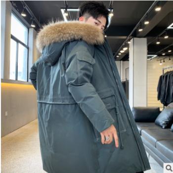 2019新款潮牌宽松白鸭绒保暖防寒大衣冬季羽绒服男中长款连帽外套