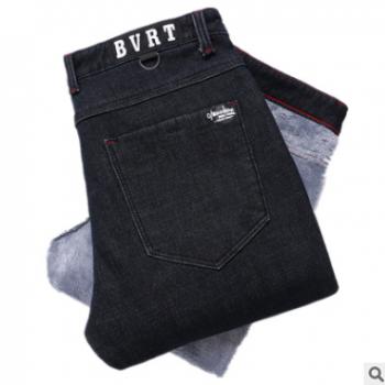 男式冬季加绒牛仔裤修身直筒男牛仔长裤韩版时尚潮流加绒长裤青年