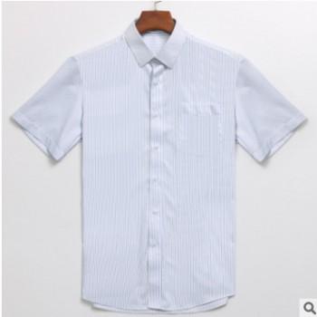 厂家直销 2019商务人士修身免烫短袖男士衬衫定制批发