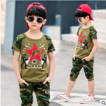 2019男童夏装新款韩版套装夏季童装中大童时尚潮流迷彩短袖两件套