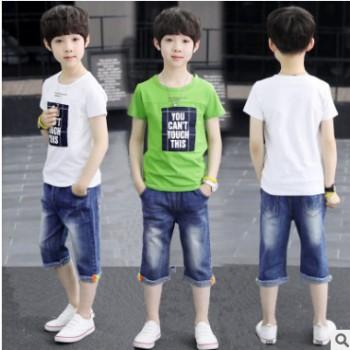 2019童装春季新款中大童韩版休闲两件套男童时尚短袖上衣裤子套装