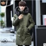 2019冬季新款男士中长款羽绒服连帽韩国修身大毛领防寒加厚大衣
