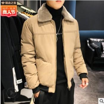 冬季棉服男士纯棉韩版潮流网红加厚翻领青年修身保暖衣服外套男装