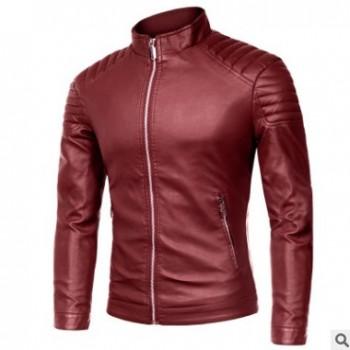 常年供货亚马逊ebay外贸爆款男式立领拉链时尚PU皮衣男外套夹克男