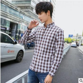厂家直销新款春秋季格子翻领棉衬衫简约百搭学生韩版衬衫清新文艺