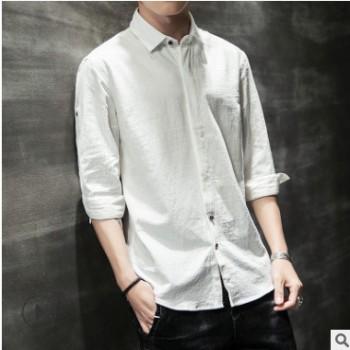 牛油果绿寸衫亚麻衬衣男七分袖修身纯棉衬衫男士日系复古一件代发